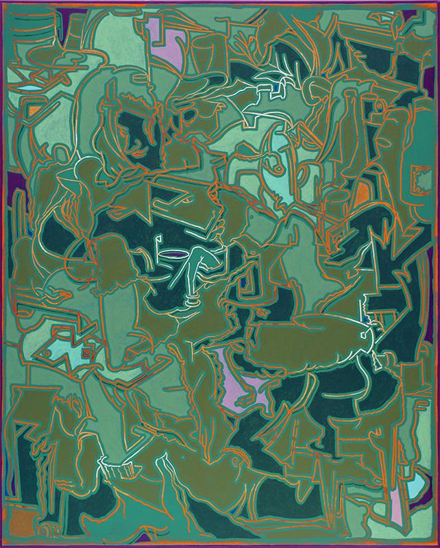 Arno Bojak   Jugendstyle #NewOrder, 185 x 195 cm, 2020, Acryl auf Nessel